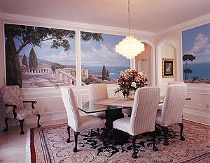 Dining Room with cloud mural
