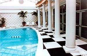 concrete columns and pool
